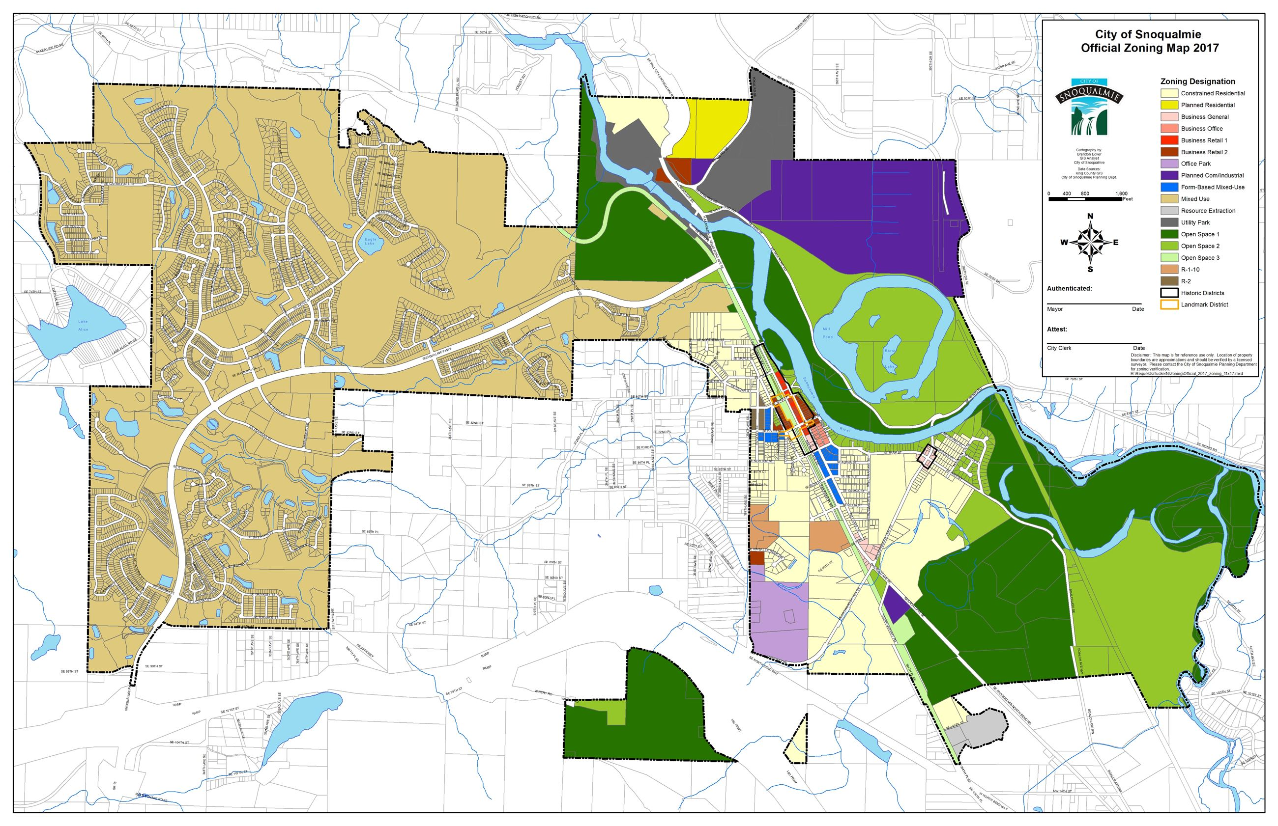 This is a zoning map for the City of Snoqualmie.