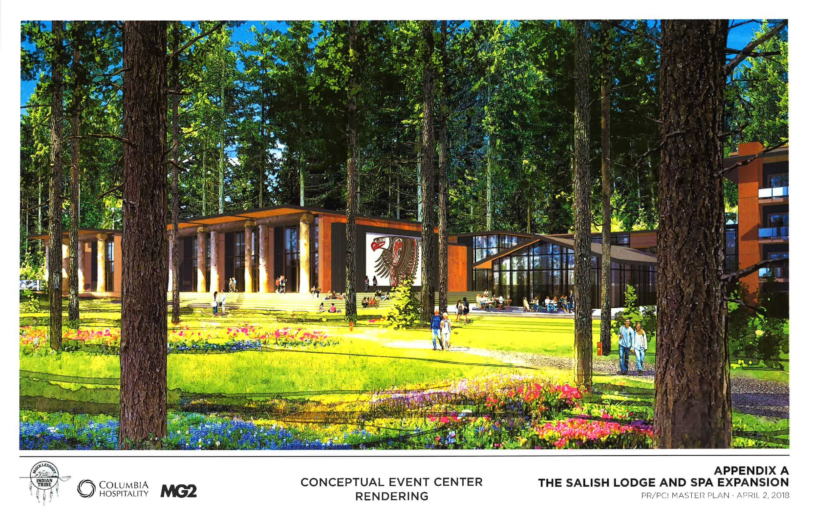 This is a conceptual rendering of a new Salish Lodge & Spa Event Center.