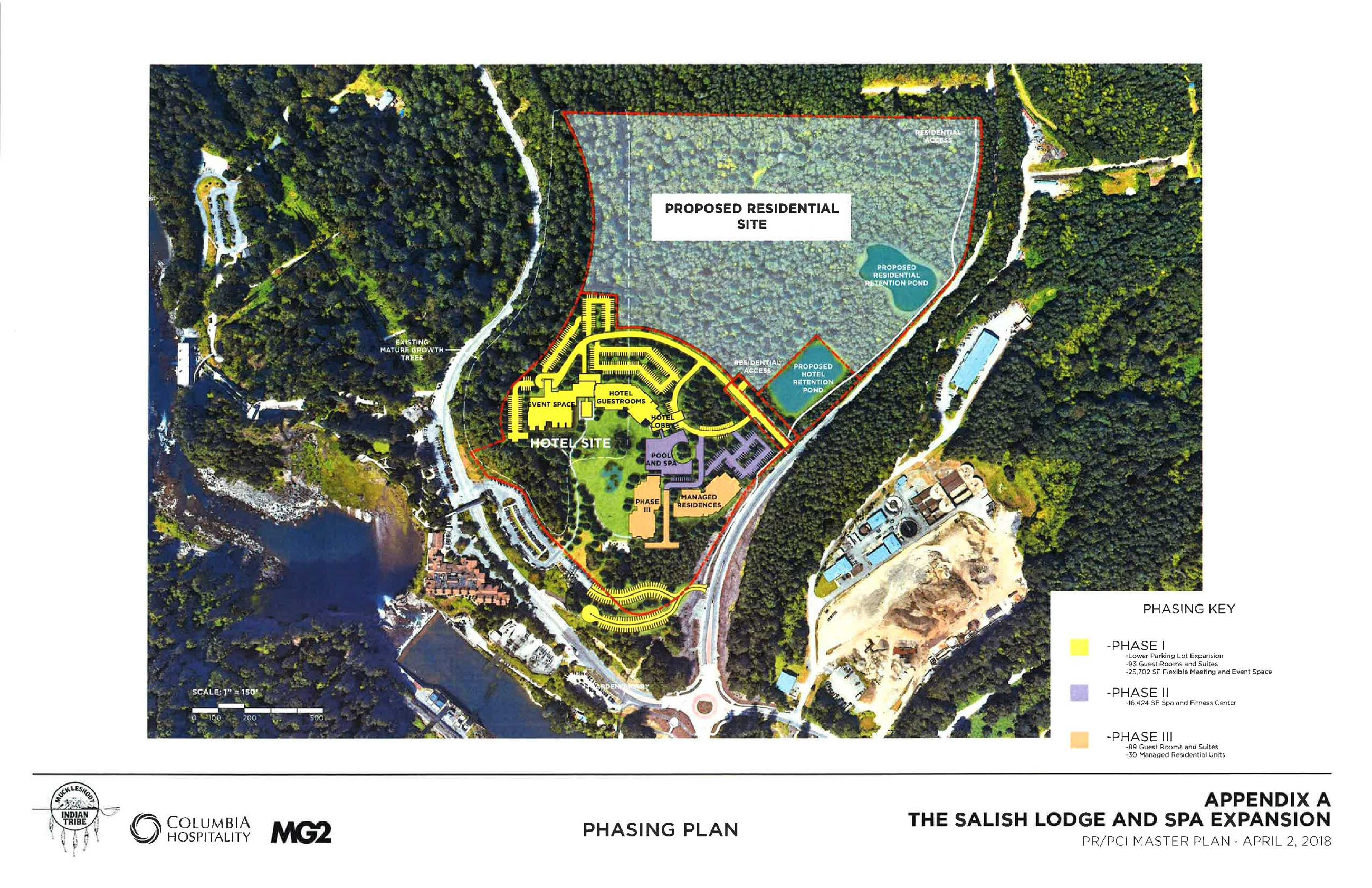 This is a conceptual aerial rendering showing phased planning stages of the Salish Lodge Expansion P