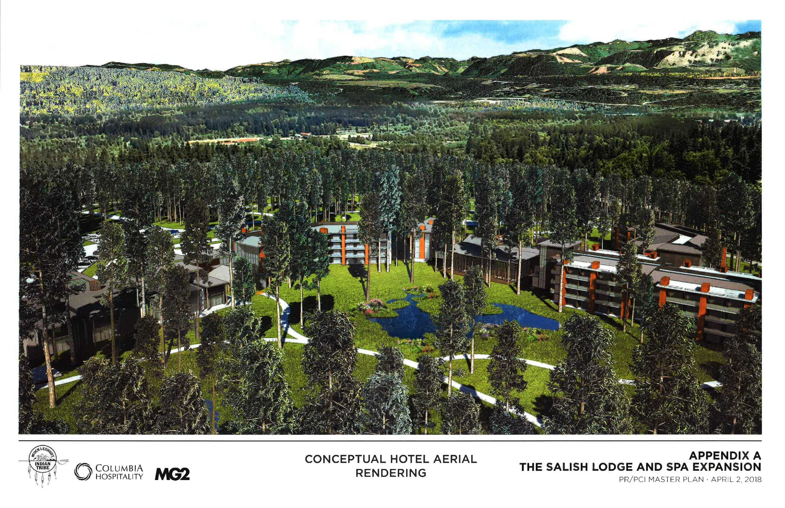 This is a conceptual aerial rendering of the expanded Salish Lodge & Spa.