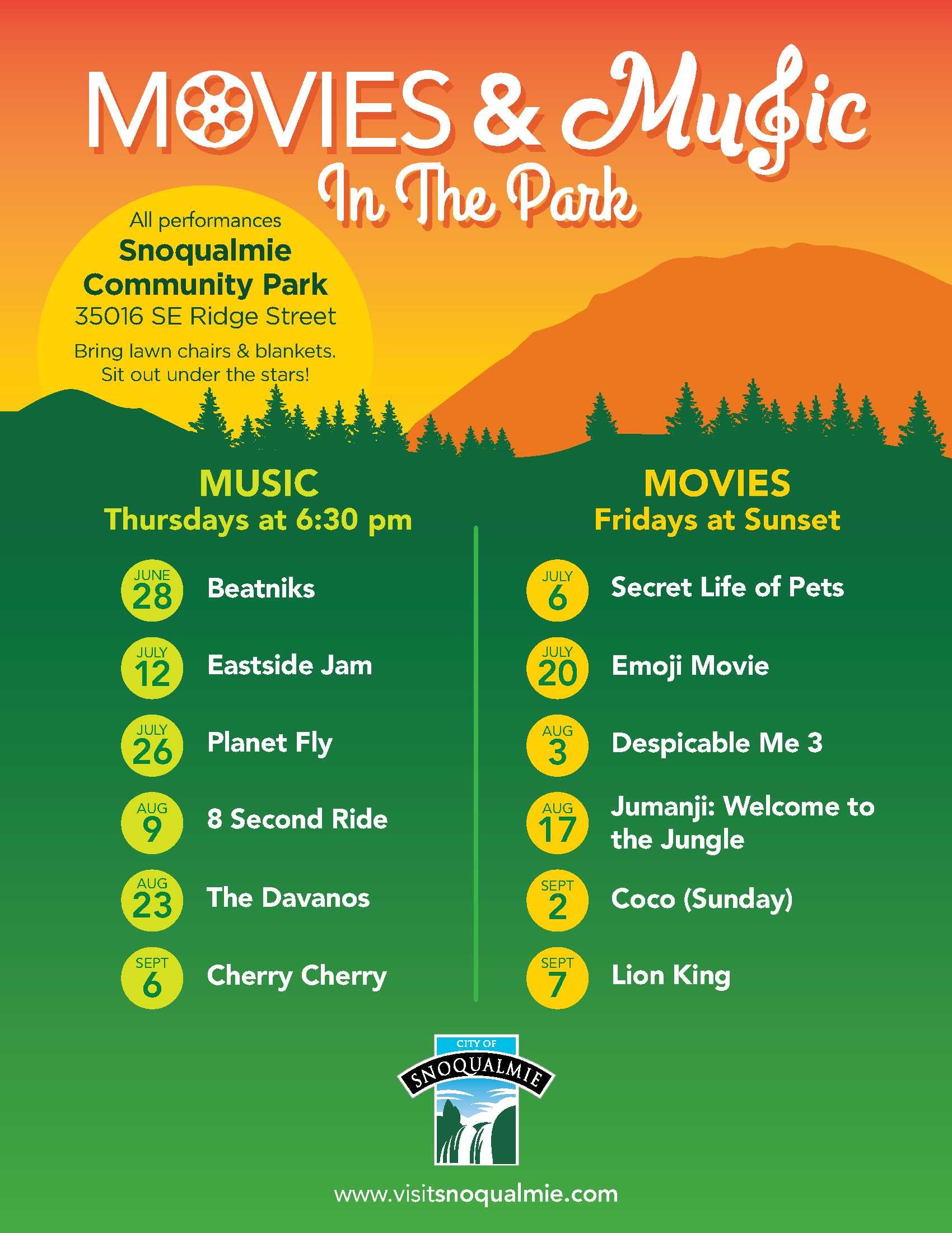 This is a poster with the movies and bands that will be playing at Snoqualmie Community Park in the