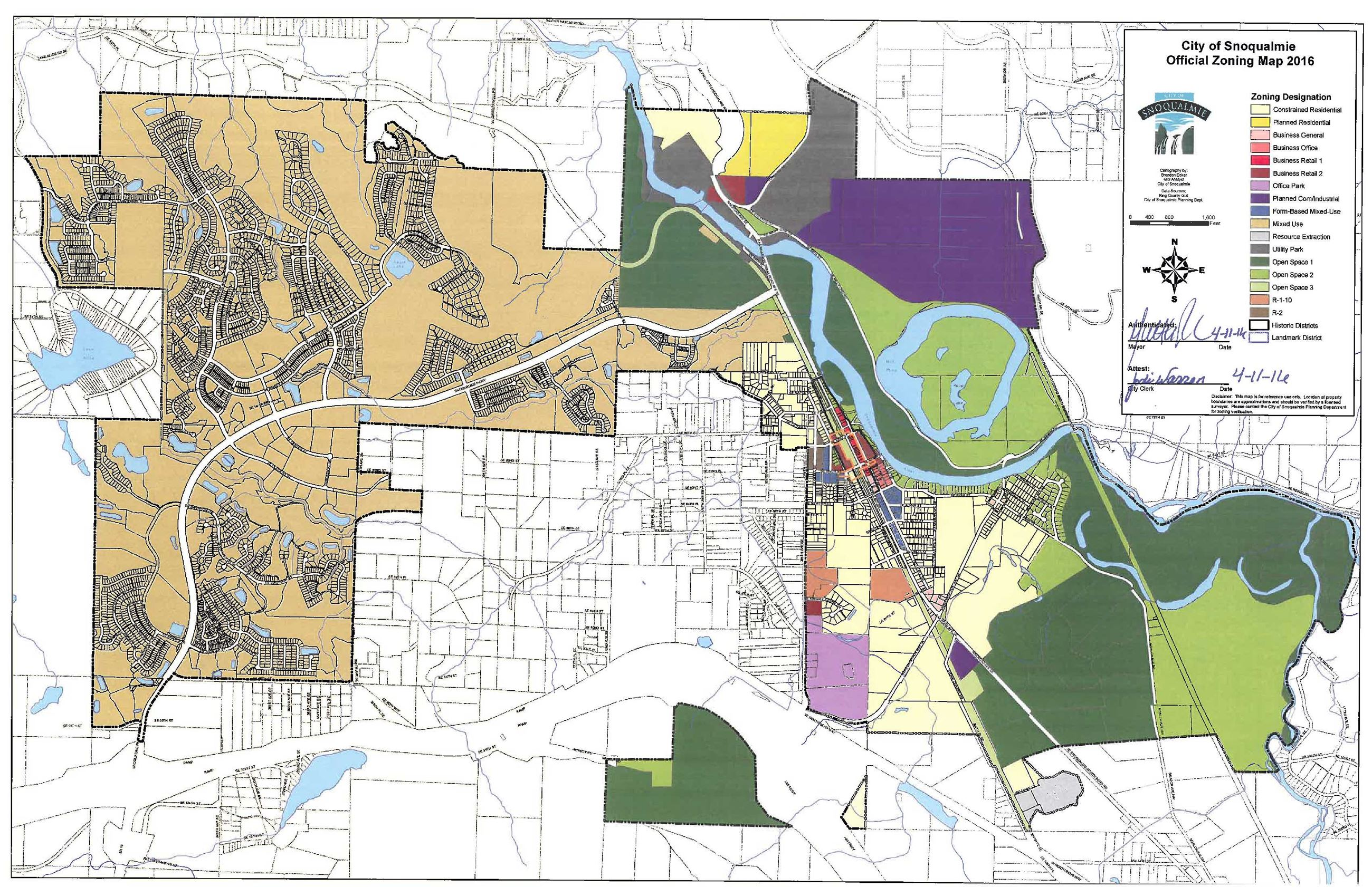 This is the official zoning map of the City of Snoqualmie.