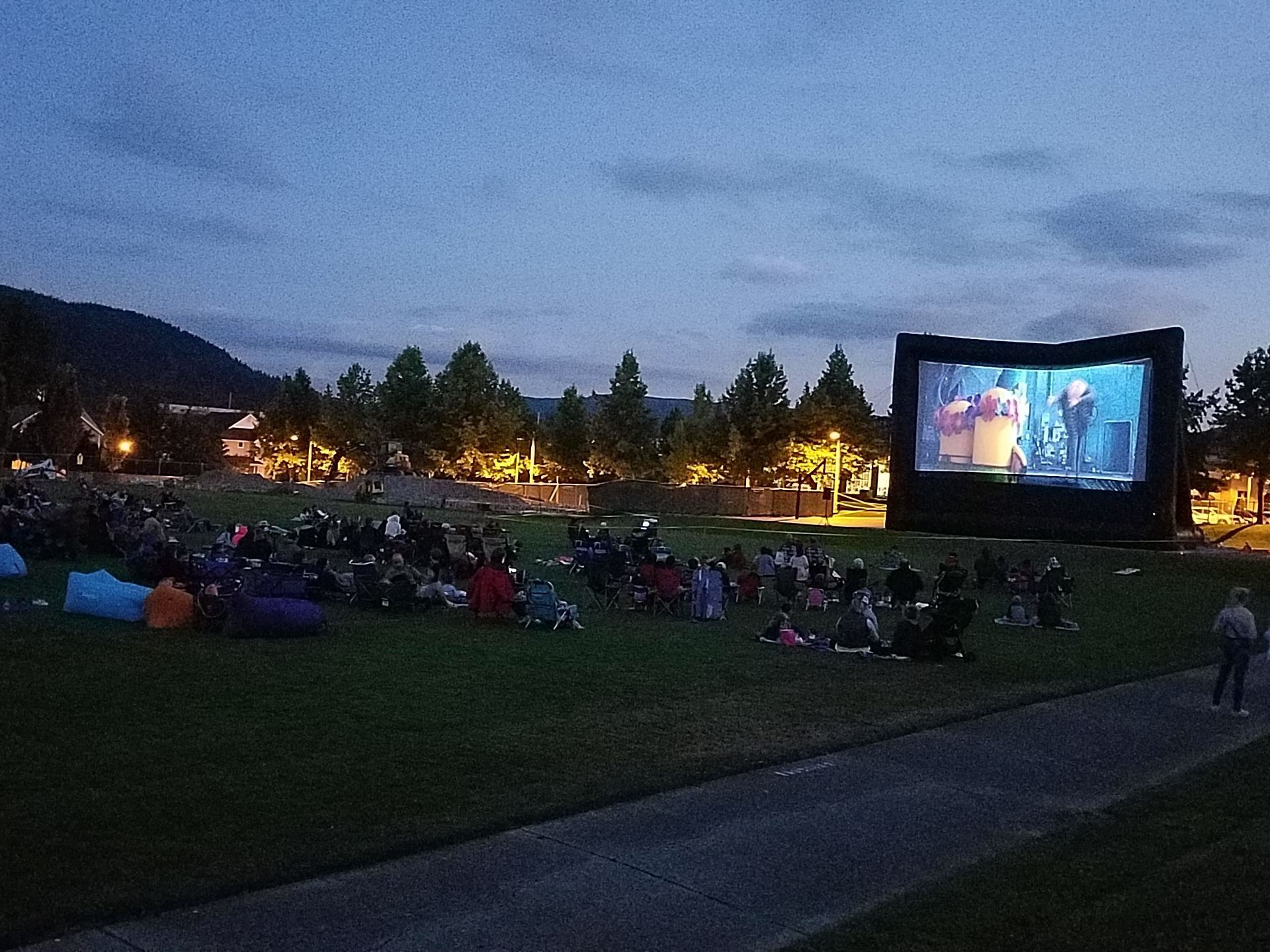 This is a photo of an outdoor movie at Snoqualmie Community Park