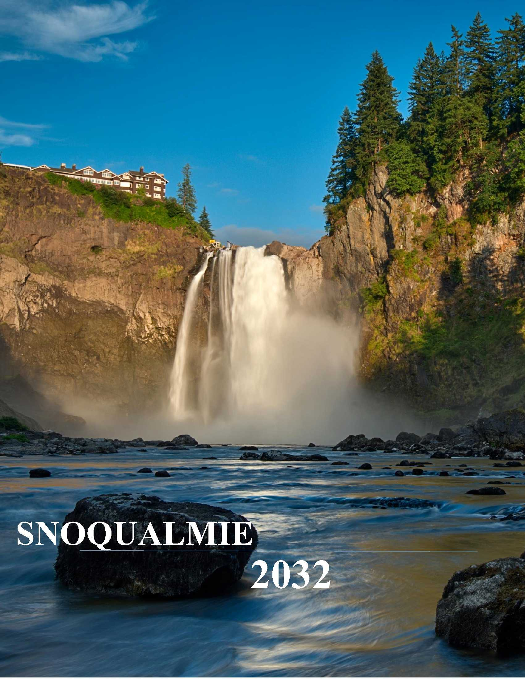 This is the cover page of the City's Comprehensive Plan showing Snoqualmie Falls