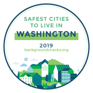 This is a logo of Backgroundchecks.com, which award the City of Snoqualmie as the safest city in Was
