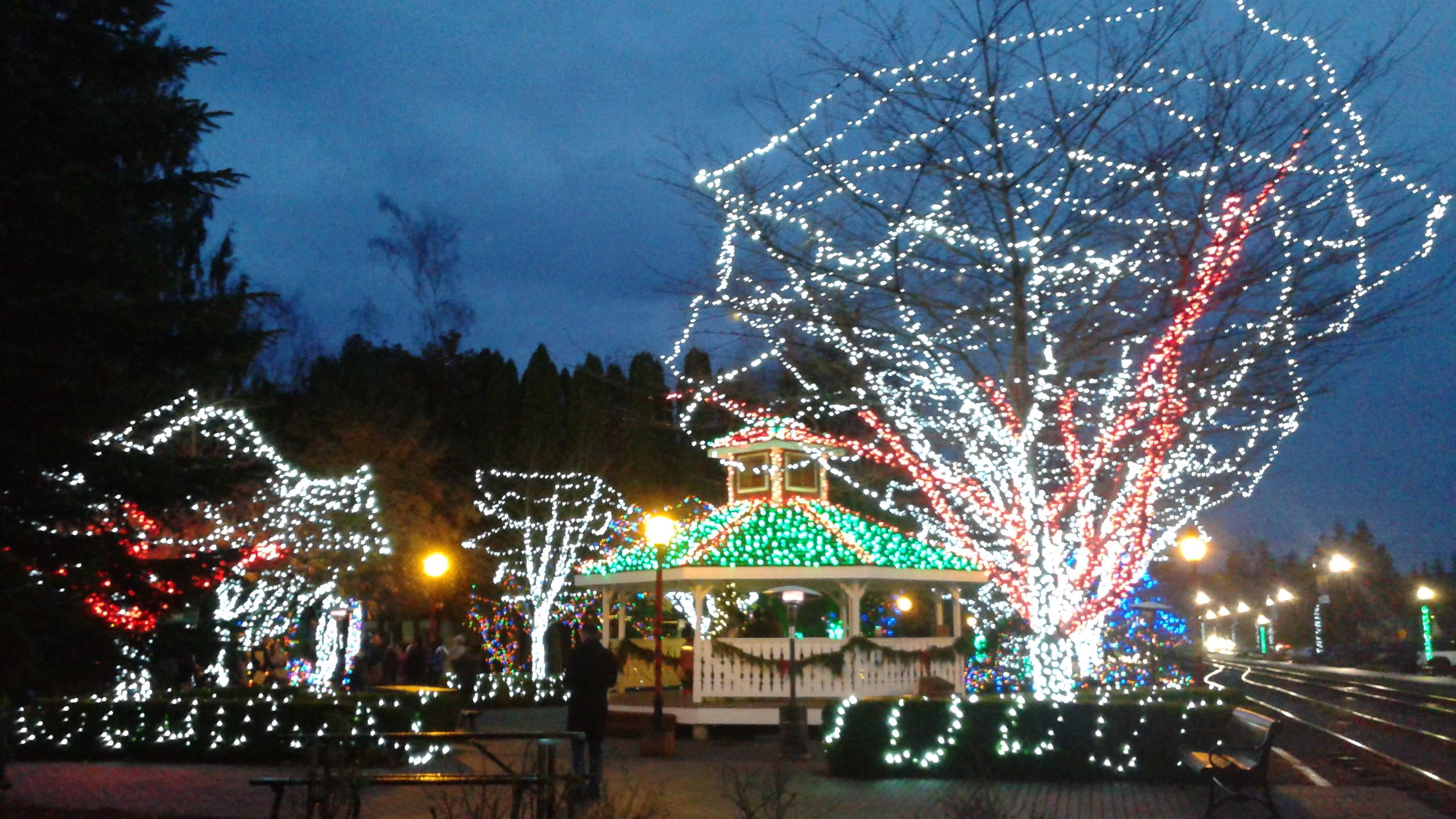 This is a photo of the Railroad Park Gazebo during Snoqualmie Winter Lights.