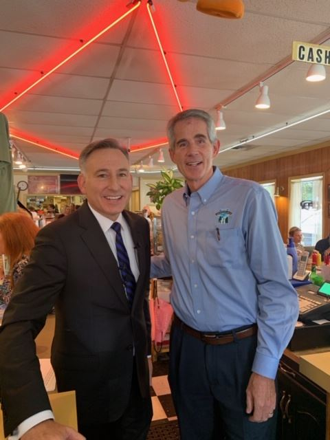 This is a photo of Mayor Larson and King County Executive Constantine at Twedes Cafe.