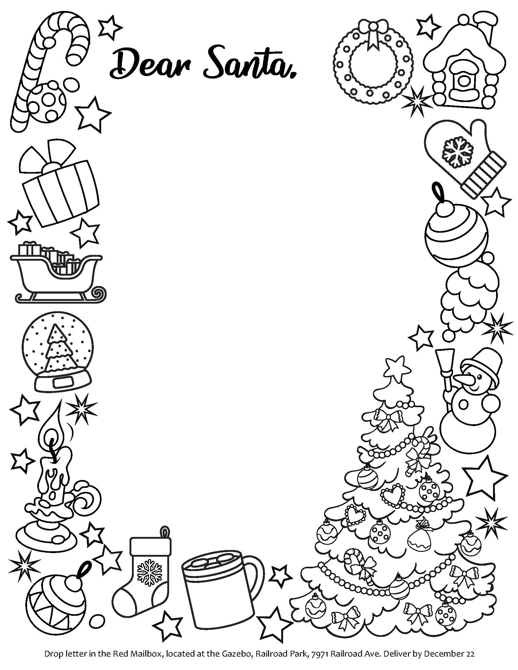 This is a template letter for children to use to write to Santa.