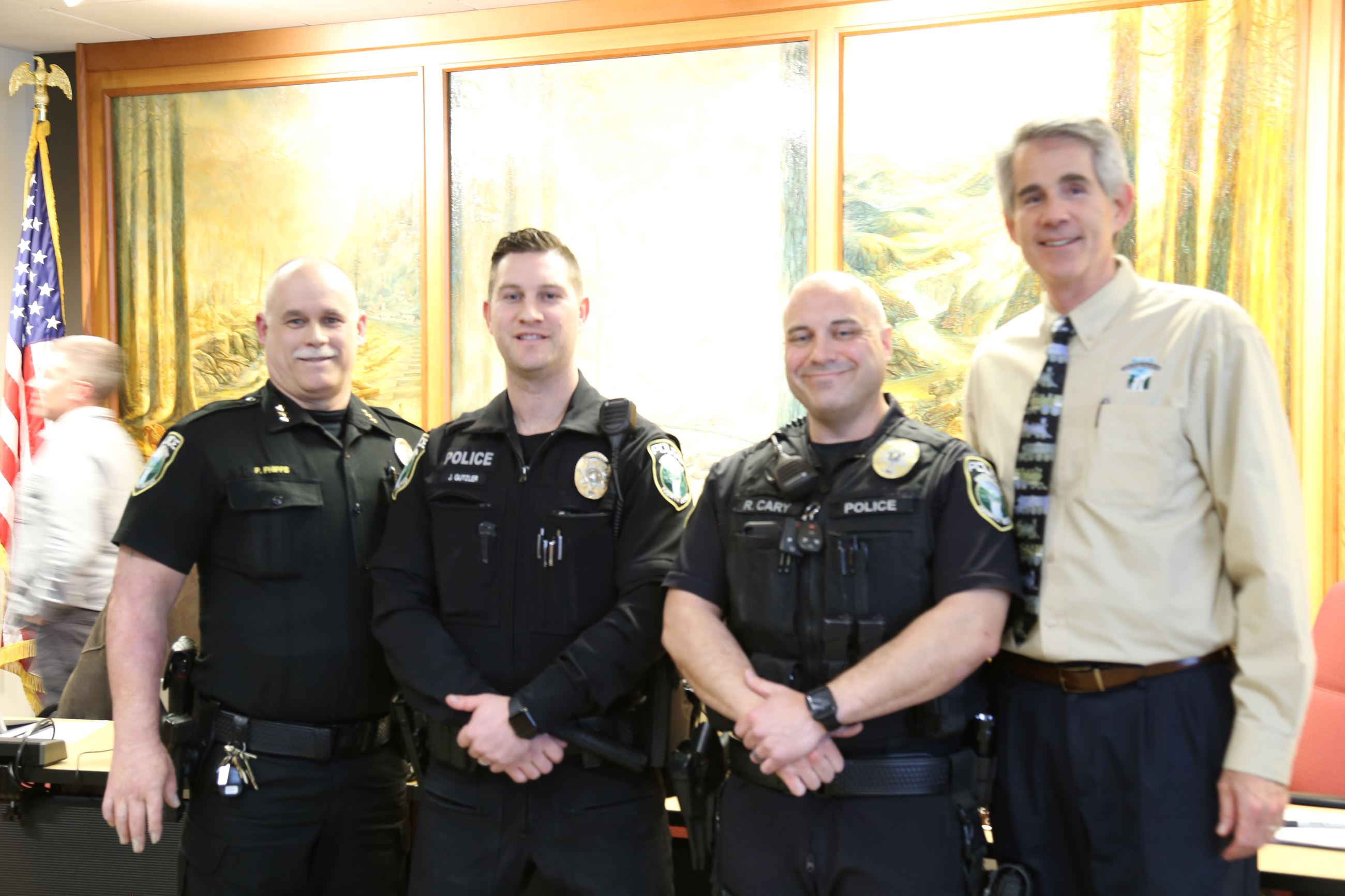 This is a picture of Snoqualmie Police Chief Perry Phipps, Officer Jayce Gutzler, Officer Rick Cary,
