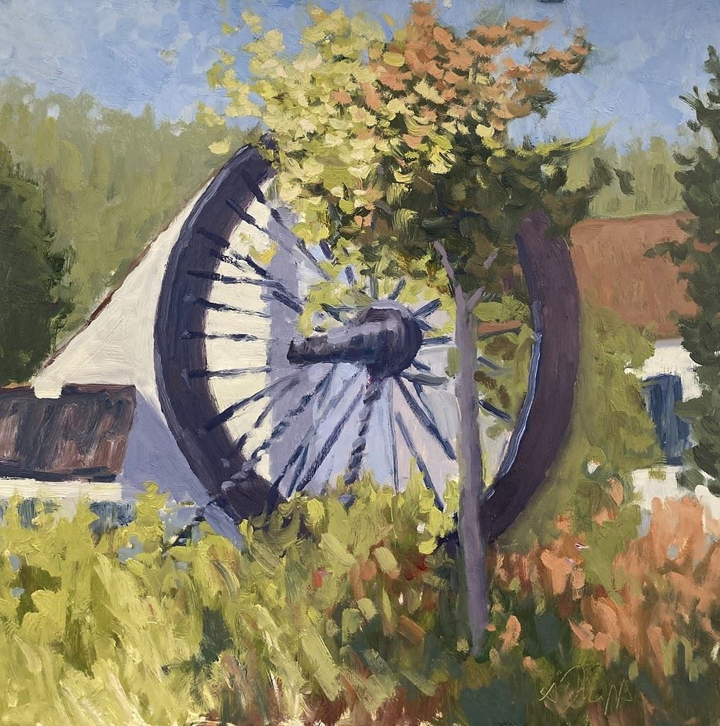 "This is an image a painting titled ""The Wheel"" by Alex Trapp."