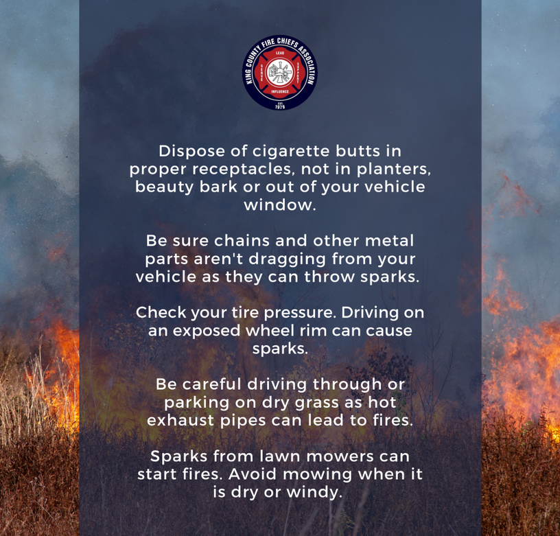 This is a poster showing tips for preventing brush fires.