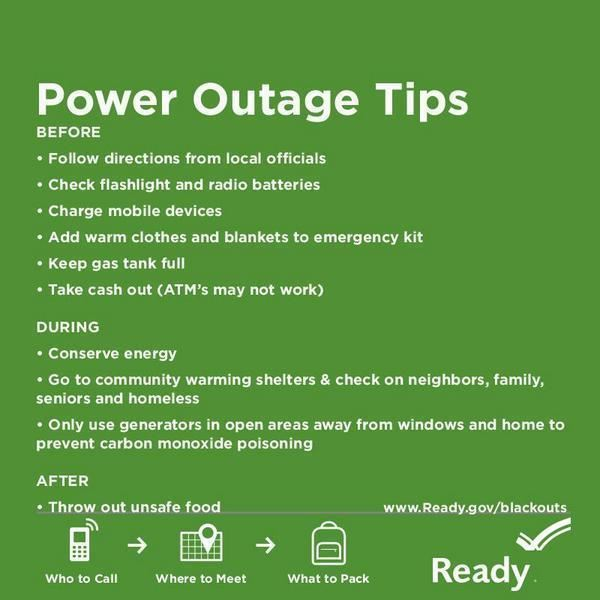 This is an image of a fact sheet on power outage safety