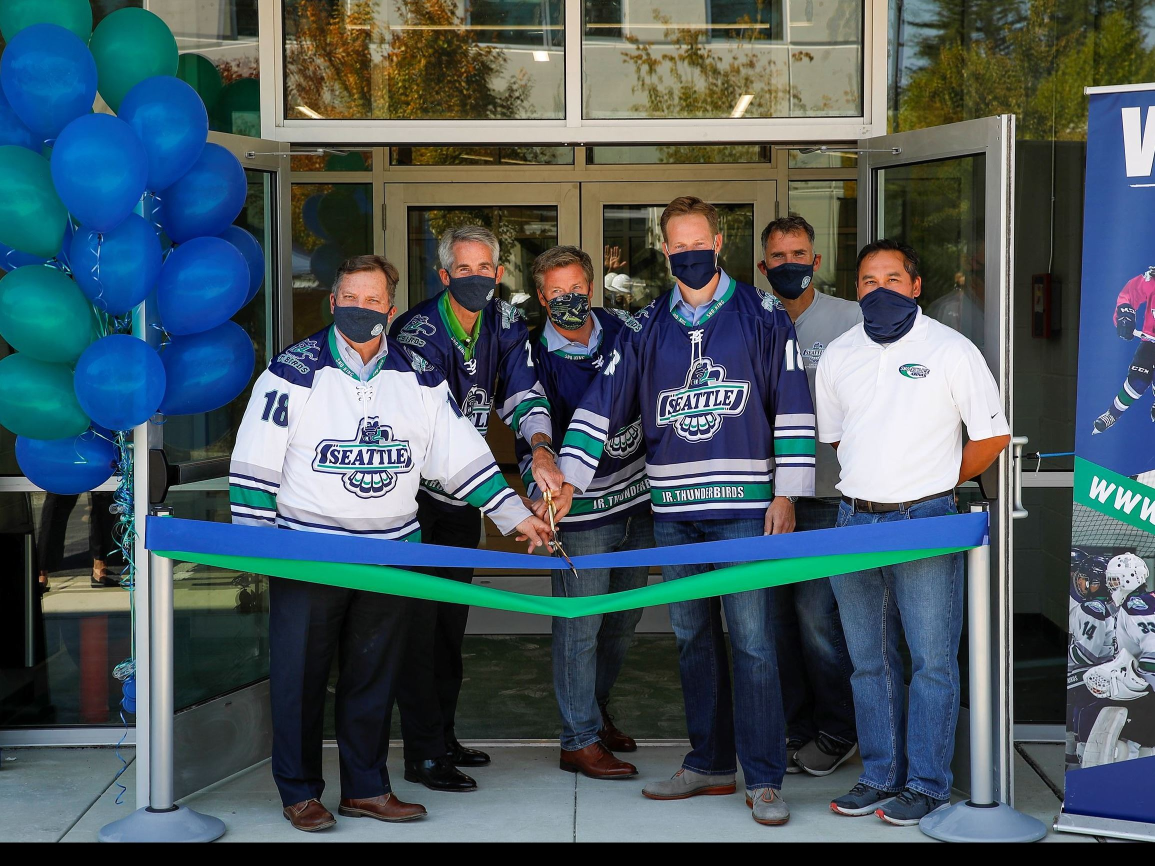This is a photo of the Sno King Snoqualmie Ice Arena ribbon cutting ceremony on September 8, 2020.