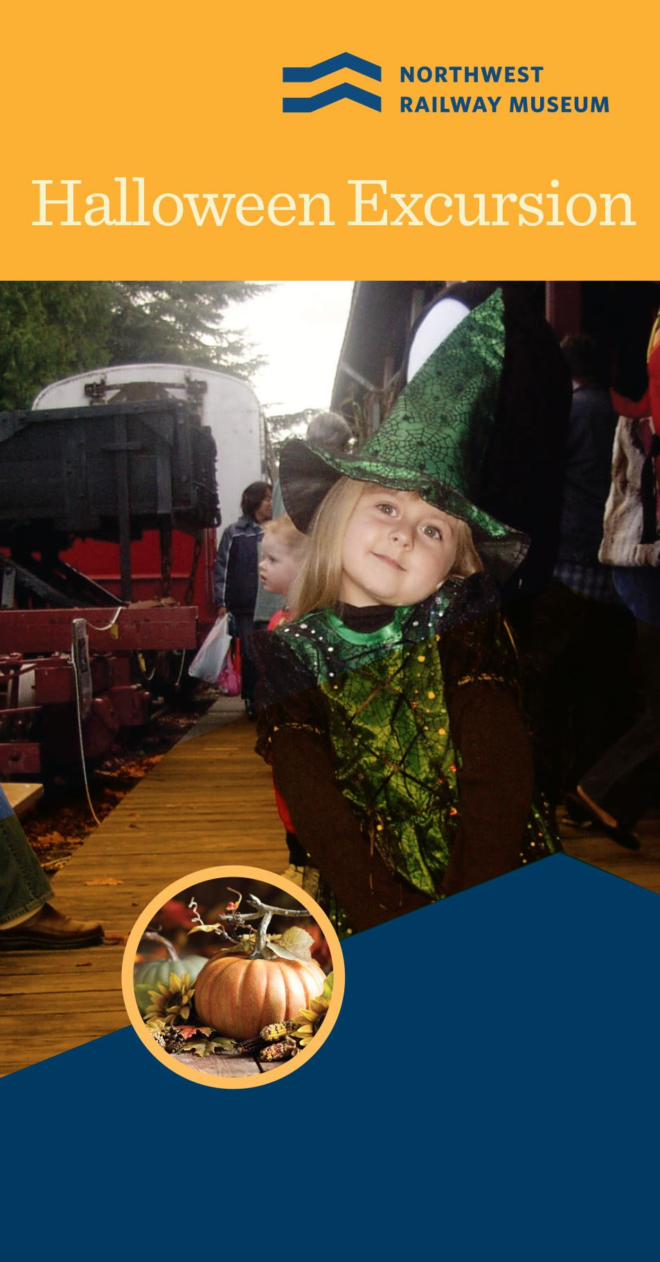 This is a picture of a little girl on a train dressed up as a witch.