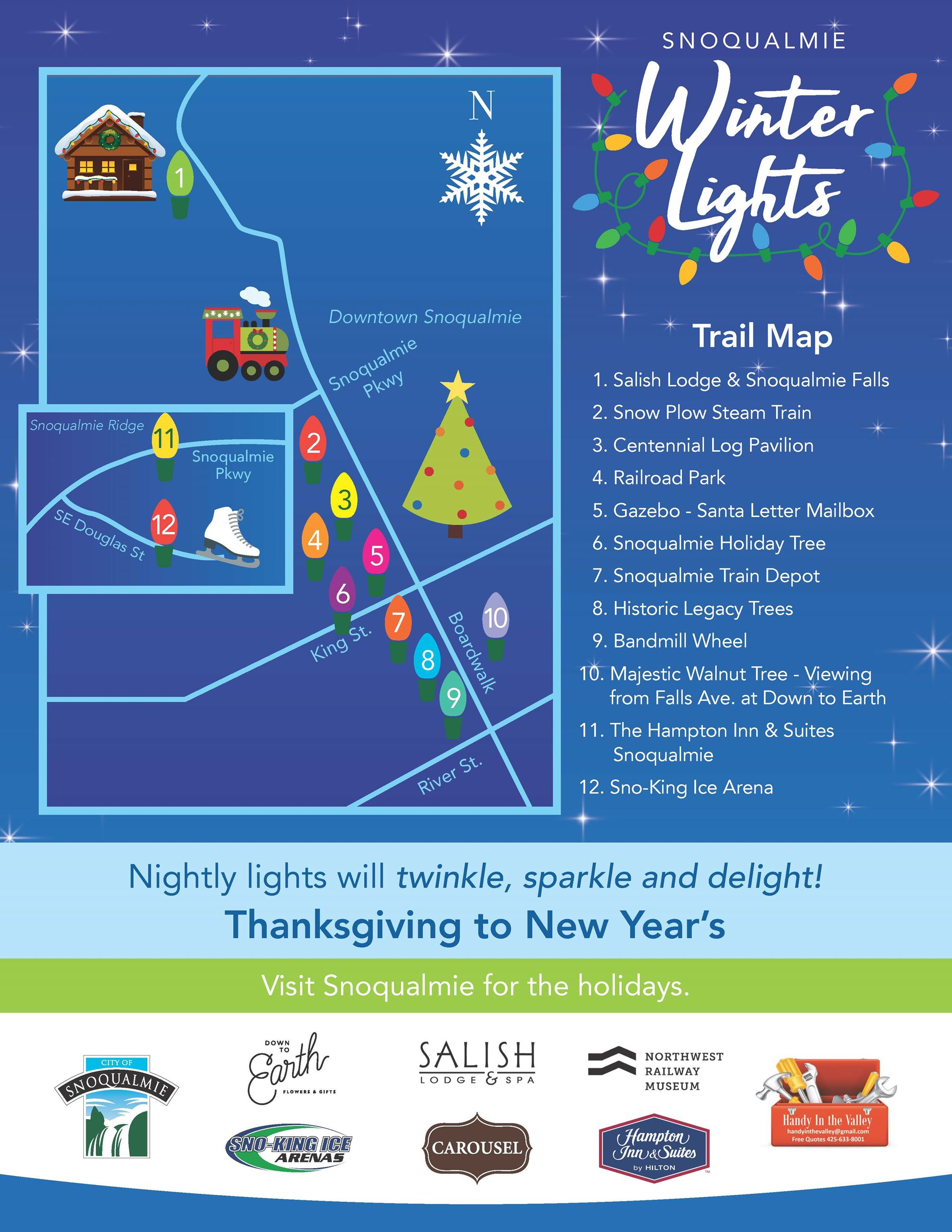 This is a flyer about the 2020 Snoqualmie Winter Lights Trail Map.