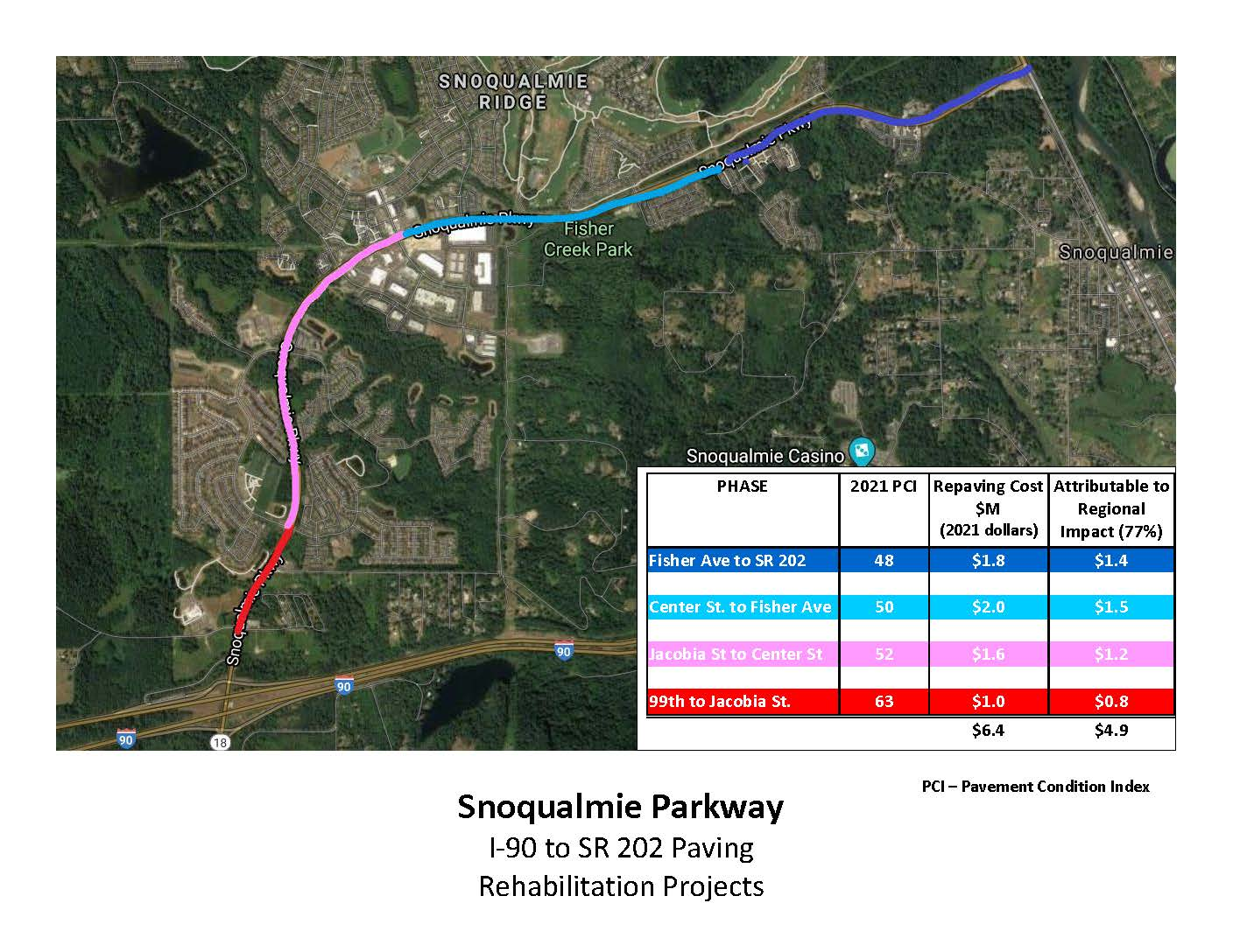 This is an aerial map of the Snoqualmie Parkway Pavement Rehabilitation Plan.